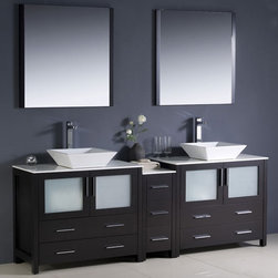 Fresca - Torino 84 in. Modern Double Sink Bathroom Vanity (Trebia Brushed Nickel) - Choose Included Faucet: Trebia Brushed NickelP-traps, Faucets, Pop-Up Drains and Installation Hardware Included. Single Hole Vessel Faucet Mounts (Faucets Shown In Picture May No Longer Be Available So Please Check Compatible Faucet List). No overflow. Sink Color: White. Finish: Espresso. Sink Dimensions: 16 in. x16 in. x5 in. . Mirror: 31.5 in. W x 31.5 in. H x 1.25 in. D. Materials: Plywood w/ Veneer, Ceramic Sinks. Vanity: 83.5 in. W x 18.13 in. D x 35.63 in. HFresca is pleased to usher in a new age of customization with the introduction of its Torino line. The frosted glass panels of the doors balance out the sleek and modern lines of Torino, making it fit perfectly in either Town or Country decor. Available in the rich finishes of Espresso, Glossy White and Light Oak, all of the vanities in the Torino line come with either a ceramic vessel bowl or the option of a sleek modern ceramic undermount sink.