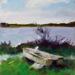 White Boat Beached Lake Water Green Purple Grass by Clair Hartmann Fine Art