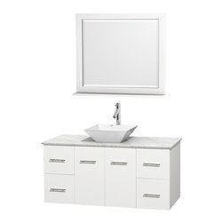 """Wyndham Collection - Centra Bathroom Vanity in White,WT  Carrera Top,Pyra White Sink,36"""" Mir - Simplicity and elegance combine in the perfect lines of the Centra vanity by the Wyndham Collection. If cutting-edge contemporary design is your style then the Centra vanity is for you - modern, chic and built to last a lifetime. Available with green glass, pure white man-made stone, ivory marble or white carrera marble counters, with stunning vessel or undermount sink(s) and matching mirror(s). Featuring soft close door hinges, drawer glides, and meticulously finished with brushed chrome hardware. The attention to detail on this beautiful vanity is second to none."""