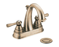 """Moen - Moen 6121AZ Antique Bronze Bath Sink Faucet Two Lever Handle 4"""" Centerset, ADA - Moen 6121AZ is part of the Kingsley Bath collection. Moen 6121AZ is a new style bathroom lavatory, sink faucet. Moen 6121AZ has a Antique Bronze finish. Moen 6121AZ mounts in a 3-hole 4"""" Centerset sink, has """" high arc design, with 6 3/4"""" high and 4 3/8"""" long spout, and a full 4 1/2"""" from deck to aerator. Moen 6121AZ includes a metal pop-up type waste assembly. Moen 6121AZ is part of the Kingsley bath collection with its traditional style combining classic antique look, with modern luxury. This collection delivers the best of both worlds. Moen 6121AZ fits the MPact common valve system and includes Moen's 1224 Cartridge. Moen 6121AZ two lever handle provides ease of operation. Antique Bronze is an exclusive finish from Moen and provides style and durability. Moen 6121AZ metal lever handle meets all requirements ofADA ICC/ANSI A117.1 and ASME A112.18.1/CSA B125.1, NSF 61/9 and proposition 6"""". Water Sense Certified. Lifetime limited Warranty."""