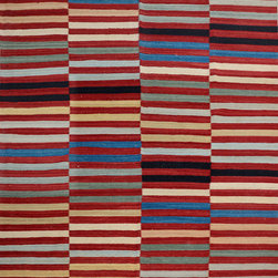 """ALRUG - Handmade Multi-colored Oriental Kilim  8' 5"""" x 9' 9"""" (ft) - This Afghan Kilim design rug is hand-knotted with Wool on Wool."""