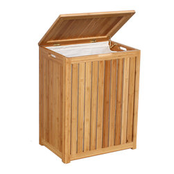 "Oceanstar Spa-Style Bamboo Laundry Hamper BRH1248 - Contemporary design for your bed, bath, or even spa room by adding this laundry hamper to your home decor. This laundry hamper is made out of Bamboo solid wood; it adds durability and elegance to any room and helps keep your room neat and contemporary. This laundry hamper comes constructed with double hinges with hardware and other accessories to assemble. Two hand grips on the side of the hamper make it easy for transport and transfer. This hamper also comes with a canvas liner and two metal rods which make it convenient for carrying clothes to the laundry room without actually moving the actual hamper. This beautiful hamper is functional while adding class and style to your spa room or any room in the house. Assembly required. Hamper Size: 25.5""H x 14""D x 20""W. Assemble weight: 22 lbs."
