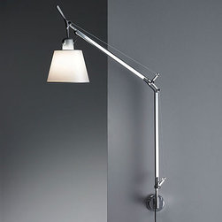 Artemide - ARTEMIDE TOLOMEO WALL LAMP \ SCONCE + SHADE - The Tolomeo wall lamp with shade by Artemide offers direct lighting with a fully adjustable, articulated arm structure in extruded aluminum with joints and tension control knobs in polished die-cast aluminum and tension cables in stainless steel.