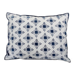 Mia + Finn - Thomas Nautical Blue Standard Pillow Shams, Set of 2 - Why count sheep when you can get lost in the repeating geometric pattern on this fantastic set of two pillow shams? Block-printed on cotton percale, these pillow shams will instantly enliven your modern or contemporary bedroom decor.
