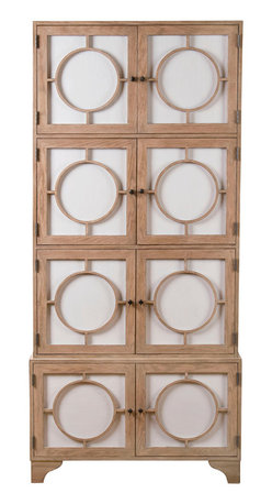 "Kathy Kuo Home - Vance Modern Hollywood Light Oak Milk Glass China Cabinet - Tall and tan and young and lovely, this beauty will make you go ""ooh."" The milky white glass doors are fronted with round mullions and bronze knobs that swing open so cool and gentle. Inside, there are several adjustable shelves to hold everything from tableware to bath items. However you use it, you'll give your heart gladly."