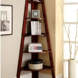 Merill 5-Tier Ladder Shelf - Cherry - Snuggle this Furniture of America Merill 5-Tier Ladder Shelf - Cherry into any corner to maximize space and create visual drama. This handsome ladder shelf is well-built of wood solids and veneers and finished in rich cherry for a distinctive look. Its five shelves are graduated in size and show off your favorites in style.
