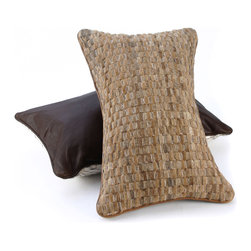 """Pfeifer Studio - Woven Cowhide Pillow, Golden Brown, 10"""" x 16"""" - This beautifully textured basket weave pillow is perfect for a sofa or bed. The neutral color palette would add the perfect hint of earthiness to a modern design. It's a great pop of cowboy-chic decor."""