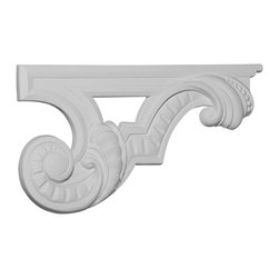 """Ekena Millwork - 12 3/8""""W x 6 5/8""""H x 3/4""""D Scroll Stair Bracket, Right - 12 3/8""""W x 6 5/8""""H x 3/4""""D Scroll Stair Bracket, Right. With the beauty of original and historical styles, decorative stair brackets add the finishing touch to stair systems. Manufactured from a high density urethane foam, they hold the same type of density and detail as traditional plaster stair bracket products. They come factory primed and can be easily installed using standard finishing nails and/or polyurethane construction adhesive."""