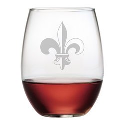 Susquehanna Glass - Fleur De Lis Stemless Wine Glass, 15oz, S/4 - Each 15 ounce stemless tumbler features a sand etched fleur de lis design. Dishwasher safe. Sold as a set of four. Made and decorated in the USA.