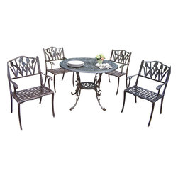 """Oakland Living - Oakland Living Mississippi 42"""" Tulip 5-Piece Dining Set in Antique Bronze - Oakland Living - Patio Dining Sets - 201110125AB - About This Product:"""