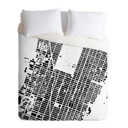 DENY Designs - CityFabric Inc NYC Midtown White Duvet Cover - Turn your basic, boring down comforter into the super stylish focal point of your bedroom. Our Luxe Duvet is made from a heavy-weight luxurious woven polyester with a 50% cotton/50% polyester cream bottom. It also includes a hidden zipper with interior corner ties to secure your comforter. it's comfy, fade-resistant, and custom printed for each and every customer.