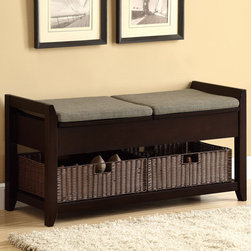"""Coaster - Storage Bench, Dark Walnut - Finished in dark walnut, this storage bench is great for entry ways. With two padded cushions for comfort and two storage handle baskets for keeping your home organized.; Finish/Color: Dark Walnut; Upholstery: Woven Fabric; Dimensions: 42""""L x 16""""W x 21""""H"""