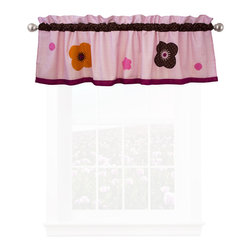 Pem America - Flowers For Hanna Valance - Flowers for Hanna is large format modern floral with chocolate highlights. 100% cotton face cloth with applique highlights are featured throughout the pattern. Valance measures 18 inches high by 70 inches wide with 3 inch rod pocket. 100% cotton face material. Machine wash cold/gentle, do not bleach, tumble dry low.