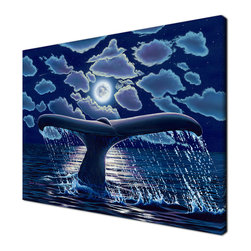 Ready2HangArt - Ready2hangart David Dunleavy 'Cabo Night' Canvas Wall Art, 30 X 40 - A whale dances in the shimmering moonlight in this canvas wall art from renowned artist David Dunleavy.  It is fully finished, arriving ready to hang on the wall of your choice.