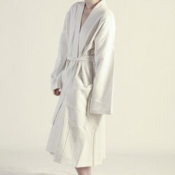 Cotton Waffle Woven Spa Robe, White - Take a cue from the finest hotels and include a clean robe in the closet of your guest room for guests to use throughout their stay. This waffle weave spa robe is lightweight enough to use all year.