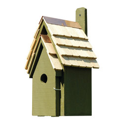 Heartwood - Bluebird Manor Cypress Wood Birdhouse Pinion Green - The  Bluebird  Manor  Birdhouse  is  constructed  from  solid  cypress  wood  and  includes  a  handemade  roof  featuring  stone-washed  shingles.  The  rustic  wood  body  of  the  birdhouse  is  painted  pinion  green.  Perfect  for  your  garden  or  even  as  decor  inside  of  your  home,  this  whimsical  bird  house  has  solid  copper  trim  with  an  easy-access  door  that  hinges  open  so  that  you  can  clean  it  easily,  or  even  view  the  inhabitants.  Great  ventilation,  and  designed  for  drainage,  this  model  includes  a  paddle  so  you  can  hang  it  from  almost  any  surface.          Product  Details:                  8  8  x  16              1.5  inch  hole              available  in  several  colors              Handcrafted  in  USA  from  renewable,  FSC  certified  Cypress  wood
