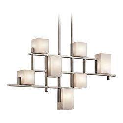 "Kichler - Contemporary Kichler City Lights Steel 34.5"" Long Chandelier - This modern chandelier from Kichler features distinctive urban flair and sports a steel finish. Its linear architectural design is what makes it memorable. This contemporary fixture is elegant and versatile. Steel finish. Takes seven 50 watt bulbs (included). 34 1/2"" long. 5"" deep. 18 1/2"" high.  From the Kichler lighting collection.  Steel finish.  Use this large chandelier in a foyer or dining room.  Takes seven 50 watt bulbs (included).  34 1/2"" long.  5"" deep.  18 1/2"" high."