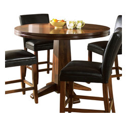 Steve Silver Furniture - Steve Silver Serena Counter Height Table - The Serena Collection is the perfect fit for a small area or breakfast nook. The table features a double edge with a pedestal base wrapped in a dark cherry finish.