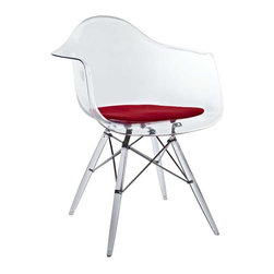 "Modway - Pyramid Dining Armchair in Red - Pyramid Armchairs are crafted out of molded acrylic for the seat and ""pyramid"" base. Comfortable and versatile, this chair can be used to decorate any space."