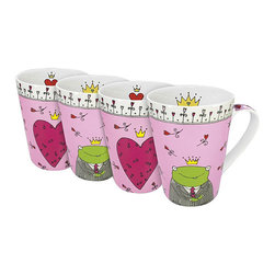 Konitz - Konitz 'Prince and Princess' Assorted 13-oz Mugs (Set of 4) - This set of four 'His and Her' mugs features whimsical hand-drawn designs. The gentleman's mug features a frog prince,while the ladies' mug has a large pink heart. Illustrations on the handle and the interior of the mug.