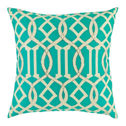 Sakura Pillow Cover - Our Sakura pillows take shape with inspiration from yet another one of Natureメs generous gifts ヨ the Sakura flower. This flower, known as Cherry Blossom, has rich symbolism that points to beauty, generosity, and mortality. These hand crafted toss pillows for couch have a delicate and detailed embroidery design. The base teal color fabric is embellished with solid geometric patterns in white. Hand embroidery and needle work along the edges of the white design create a decorative pillow you would be proud to own and flaunt! The hidden zippers in these 450 thread count cotton pillows enhance practicality, convenience, and of course beauty.
