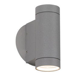 """Possini Euro Design - Matte Silver Up and Down Wall Light - Perfect for modern and industrial style homes this cylindrical up/down light will make an impact on your decor. The matte silver finish has a modest texture that gives it a slightly retro utilitarian look. Its two bulbs direct the light up and down through tempered glass lenses creating an instantly dramatic effect each time it is turned on. An ADA compliant fixture from the Possini Euro Design outdoor lighting collection. Matte silver finish. Tempered glass lenses. ADA compliant. Takes two 35 watt GU10 halogen bulbs (not included). 6 3/4"""" high and 2 1/2"""" wide. Extends 3 3/4"""" from the wall.  Matte silver finish.    Tempered glass lenses.   ADA compliant.  Includes two 35 watt GU10 halogen bulbs.  6 3/4"""" high and 2 1/2"""" wide.   Extends 3 3/4"""" from the wall."""