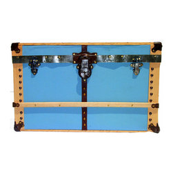 Trunk Face in Baby Blue - Wall hanging reproduction of a real antique trunk. Genuine antique hardware is used in creating this hand-crafted, one-of-a-kind wall art. Comes complete with ready-to-hang hardware already attached.