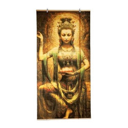 Oriental Unlimited - Kwan Yin w Lotus Bamboo Blinds (72 in. Wide) - Choose Size: 72 in. WideThese stunning bamboo matchstick blinds feature an elegant kwan yin with lotus design. Easy to hang and operate. 36 in. W x 72 in. H. 48 in. W x 72 in. H. 72 in. W x 72 in. H