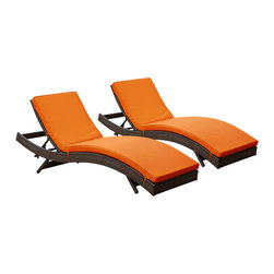 "LexMod - Peer Chaise Outdoor Patio Set of 2 in Brown Orange - Peer Chaise Outdoor Patio Set of 2 in Brown Orange - Dont let moments of relaxation elude you. Peer is a serenely pleasant piece comprised of all-weather cushions and a rattan base. Perfect for use by pools and patio areas, chart the waters of your imagination as you recline either for a nap, good read, or simple breaths of fresh air. Moments of personal discovery await with this chaise lounge that has fold away legs for easy storage or stackability with other Peer lounges. Set Includes: Two - Peer Outdoor Wicker Chaise Modern Outdoor Chaise Lounge, Synthetic Rattan Weave, Machine Washable Cushion Covers, Powder Coated Aluminum Frame, Water & UV Resistant Overall Product Dimensions: 78""L x 27.5""W x 48.5""H Daybed Dimensions: 78""L x 27.5""W x 33""H Seat Height: 15.5""HBACKrest Height: 33""H - Mid Century Modern Furniture."