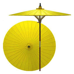 "Oriental-Décor - Lemon patio umbrella - Protection from evil and blessings are attributed to yellow in Oriental lore. Spice up your outdoor area and gain good luck at the same time with this vibrant yellow patio umbrella.  - 7 foot umbrella pole constructed of rich stained oak hardwood.  - Each umbrella is entirely handcrafted down to the finest detail.  - Oil-treated cotton umbrella shades are all hand-painted by our master artists.  - Dual position shade height allows for full coverage or a better view of the painted shade.  - Waterproof and weatherproof.  - Two-piece pole fastens securely with a polished metal coupling.  - Pole diameter of 1.5"" easily fits into any standard size umbrella base or table.  - Optional umbrella base available - handcrafted from stained oak hardwood."