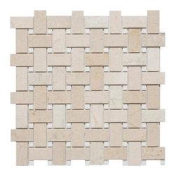 Mission Stone Tile - Basketweave Mosaic Tile, Crema Marfil/Thassos Dot, Polished, 1 Square Ft - Crema Marfil Marble with Thassos Dot Marble - Polished