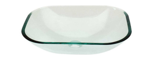 Renovators Supply - Vessel Sinks Clear Green Tint Glass Havasu Rectangle Vessel Sink - Glass Vessel Sinks: Single Layer Tempered glass sinks are five times stronger than glass, 1/2 inch thick, withstand up to 350 F degrees,  can resist moderate to high degrees of impact & are stain��_��__��_��__��_��__proof. Ready to install this package includes FREE 100% solid brass chrome-plated pop-up drain, FREE machined 100% solid brass chrome-plated mounting ring & silicone gasket. HAVASU clear has a slight natural green tint. Measures 18 3/4 in. L x 14 1/4 in. W x 4 7/8 in. deep x 1/2 in. thick.