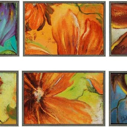 Paragon Decor - Modernismo Set of 6 Artwork - Bright sassy florals are textured and dimensionally framed.