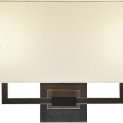 """Sonneman - Sonneman Hanover 18"""" Wide Wall Sconce - Vertically oriented wall lights are perfect for hallways and hard to fit spaces. This contemporary gem features soothing light quality with handsome details. From Sonneman. Black brass finish. Natural linen shade. Takes two 60 watt candelabra bulbs (not included). 10 1/2"""" high. 18"""" wide. Shade is 6"""" high 18"""" wide 5 1/2"""" deep. Wall plate is 5"""" square. Extends 6 1/2"""" from wall.  Black brass finish.  Natural linen shade.  Takes two 60 watt candelabra bulbs (not included).  10 1/2"""" high.  18"""" wide.  Shade is 6"""" high 18"""" wide 5 1/2"""" deep.  Wall plate is 5"""" square.  Extends 6 1/2"""" from wall."""