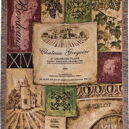 `Old World Wine` Vineyard Themed Tapestry Throw Blanket 50 Inch X 60 Inch - This multicolored woven tapestry throw blanket is a wonderful addition to the decor of any wine lover. Made of cotton, the blanket measures 50 inches wide, 60 inches long, and has approximately 1 1/2 inches of fringe around the border. The blanket features images of wine bottle labels, vineyards and grapes. Care instructions are to machine wash in cold water on a delicate cycle, tumble dry on low heat, wash with dark colors separately, and do not bleach. This comfy blanket makes a great housewarming gift that is sure to be loved.