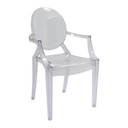 "Hampton Modern - Philippe Starck Style Louis Ghost Chair in Clear - This popular style of transparent acrylic chair makes for a modern, delicate look.  Surprisingly sturdy, and easy to clean, it is a great choice for event halls, yogurt shops, or for dining rooms. May be used for indoor or outdoor use. Stackable. Arm height: 26.5""."