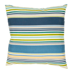 """Jaipur Rugs - Blue/Green color polyester od deck chair stripe poly fill pillow 18""""x18"""" - These fashion forward pillows, in trellis, stripes and whimsical patterns are for both indoor and outdoor use."""