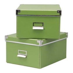 Jon Karlsson - KASSETT Box with lid for paper - Box with lid for paper, green