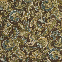 Green Blue And Brown Floral Indoor Outdoor Marine Upholstery Fabric By The Yard - This upholstery grade fabric can be used for all indoor and outdoor applications. It is Scotchgarded, and is mildew, fade, water, and bacteria resistant. This fabric is made in America!