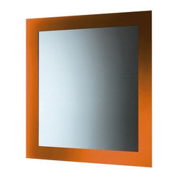 Gedy - Horizontal or Vertical Mirror With Orange Frame - A high-end vanity mirror for your high quality personal bath.
