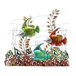 UMA - Fish Triplets Metal Wall Art Hanging - Fun and whimsical trio of colorful fish make their way through abstract undersea vegetation to make a big visual impact on your wall