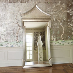 Frontgate - Fincastle Large Hall Mirror - Solid hardwood frame. Antique metal leaf with a lacquer finish. Beveled mirror. Arrives ready to hang with metal cleat. Inspired by Chinoiserie architecture, the hardwood Fincastle Wall Mirror boasts an intricately detailed rectangular frame beneath a peaked top, rich with subtle carvings. An antique silver metal leaf shines beneath a lacquer finish, delivering timeless glamour to the transitional living room.  .  .  .  .