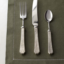 "Vagabond House - Vagabond House Five-Piece ""Classic"" Pewter Flatware Place Setting - With a traditional hammered pattern and bevel-shaped handles ending in half octagons, this flatware brings classic architectural style to table settings. Handcrafted of pewter and stainless steel. Hand wash. Five-piece place setting includes dinner k..."
