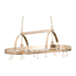 Kalco - Kalco 3617 2 Light 10 Hook Pot Rack from the Contemporary Collection - Kalco 3617 Two Down Light and Ten Hook Pot Rack from the Contemporary Collection