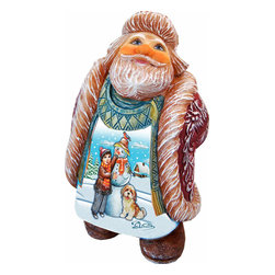 """Artistic Wood Carved Santa Looking Up w/ Snowman Sculpture - Measures 5.5""""H x 3.5""""L x 3""""W and weighs 1 lb. G. DeBrekht fine art traditional, vintage style sculpted figures are delightful and imaginative. Each figurine is artistically hand-painted with detailed scenes including classic Christmas art, winter wonderlands and the true meaning of Christmas, nativity art. In the spirit of giving G.DeBrekht holiday decor makes beautiful collectible Christmas and holiday gifts to share with loved ones. Every G. DeBrekht holiday decoration is an original work of art sure to be cherished as a family tradition and treasured by future generations. Some items may have slight variations of the decoration on the decor due to the hand painted nature of the product. Decorating your home for Christmas is a special time for families. With G. DeBrekht holiday home decor and decorations you can choose your style and create a true holiday gallery of art for your family to enjoy."""