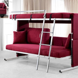 Modern Convertible Sofa Bed 0803 - Modern Convertible Sofa Bed 0803. This useful couch is a great space-saver and convenient item for your kid's room. Easy converts into the Bunk-Bed with two mattresses from regular sofa. Metal rail-guards for more safety when it's open.