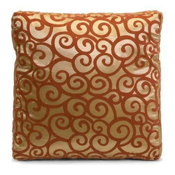 IMAX CORPORATION - Harbin Square Box Pillow - 16 x 16 - Elegant square box pillow in gold features deep auburn swirl design. Find home furnishings, decor, and accessories from Posh Urban Furnishings. Beautiful, stylish furniture and decor that will brighten your home instantly. Shop modern, traditional, vintage, and world designs.