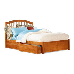 Atlantic Furniture - Windsor Platform Bed w Flat Panel Footboard in Caramel Latte (Queen) - Choose Bed Size: Queen. Includes Windsor headboard, flat panel footboard, long rails and 14 pieces slat kit. Optional underbed flat panel drawers not included. Adjustable height design allows for use with or without a box spring. Features an arch and spindle design built. Solid hardwood construction with engineered hardwood bed slats. Trundle only fits twin or full size beds. Twin: 79.75 in. L x 42.5 in. W x 42.63 in. H. Full: 79.75 in. L x 56.75 in. W x 47.25 in. H. Queen: 85.25 in. L x 63.5 in. W x 47.25 in. H. King: 85.25 in. L x 79.75 in. W x 47.25 in. H. Optional flat panel drawers:. Twin: 74 in. L x 22 in. W x 12 in. H. Full: 74 in. L x 22 in. W x 12 in. H. Queen: 79.5 in. L x 22 in. W x 12 in. H. King: 79.5 in. L x 22 in. W x 12 in. H. Optional raised panel drawers:. Twin: 74 in. L x 24.38 in. W x 12 in. H. Full: 74 in. L x 24.38 in. W x 12 in. H. Queen: 79.5 in. L x 24.38 in. W x 12 in. H. King: 79.5 in. L x 24.38 in. W x 12 in. H. Optional twin or full raised panel trundle: 74.75 in. L x 40.38 in. W x 11.63 in. H