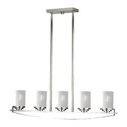 Murray Feiss - Polished Nickel Finley 5 Light Island Chandelier with SandblastGlass Shades - Lamping Technologies: