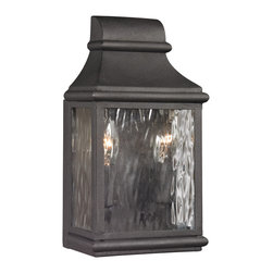 Elk Lighting - Elk Lighting Forged Jefferson Collection 2 Light Outdoor Sconce In Charcoal - 47 - 2 Light Outdoor Sconce In Charcoal - 47070/2 in the Forged Jefferson collection by Elk Lighting   Outdoor Wall Sconce (1)